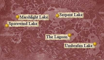 Map: Zangarmarsh's lakes - The Lagoon, Marshlight Lake, Sporewind Lake, Serpent Lake, and Umbrafen Lake.